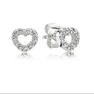Pandora Silver Heart Stud Earrings